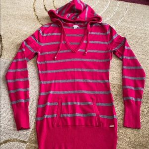 ~Guess~ Red & Gray Stripes Hooded Tunic Sweater